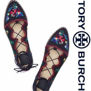 Tory Burch embroidered floral and navy espadrilles